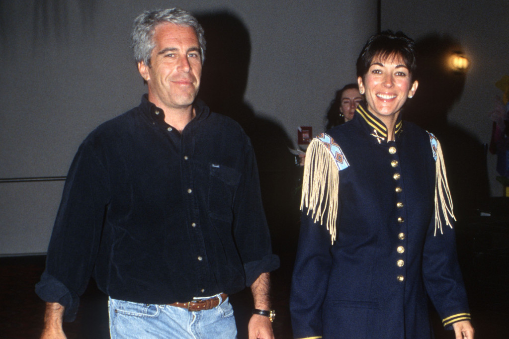 Ghislaine Maxwell walking with Jeffrey Epstein